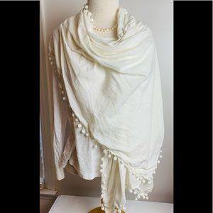 J Crew large cream colored scarf-wrap